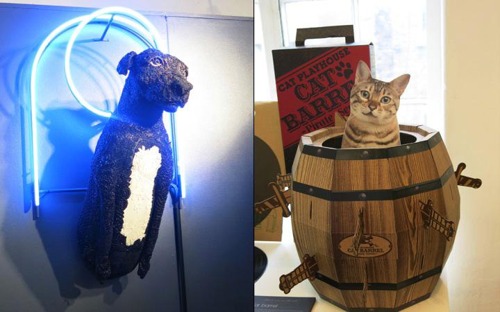 Saintly dog lamp and cat barrel playhouse