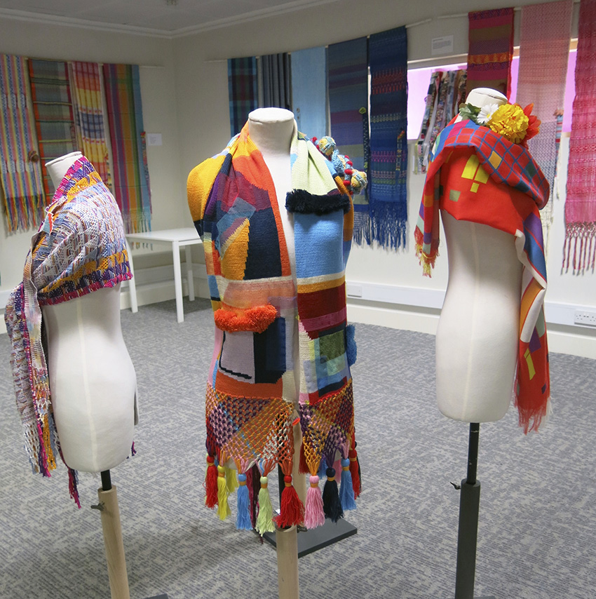 Knitted Rebozo by Rosie Danford-Phillips centre winner of the student cultural exchange competition