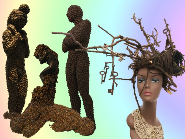 Anna Gillespie sculptures and Sahar Freemantle millinery copyright Visuology