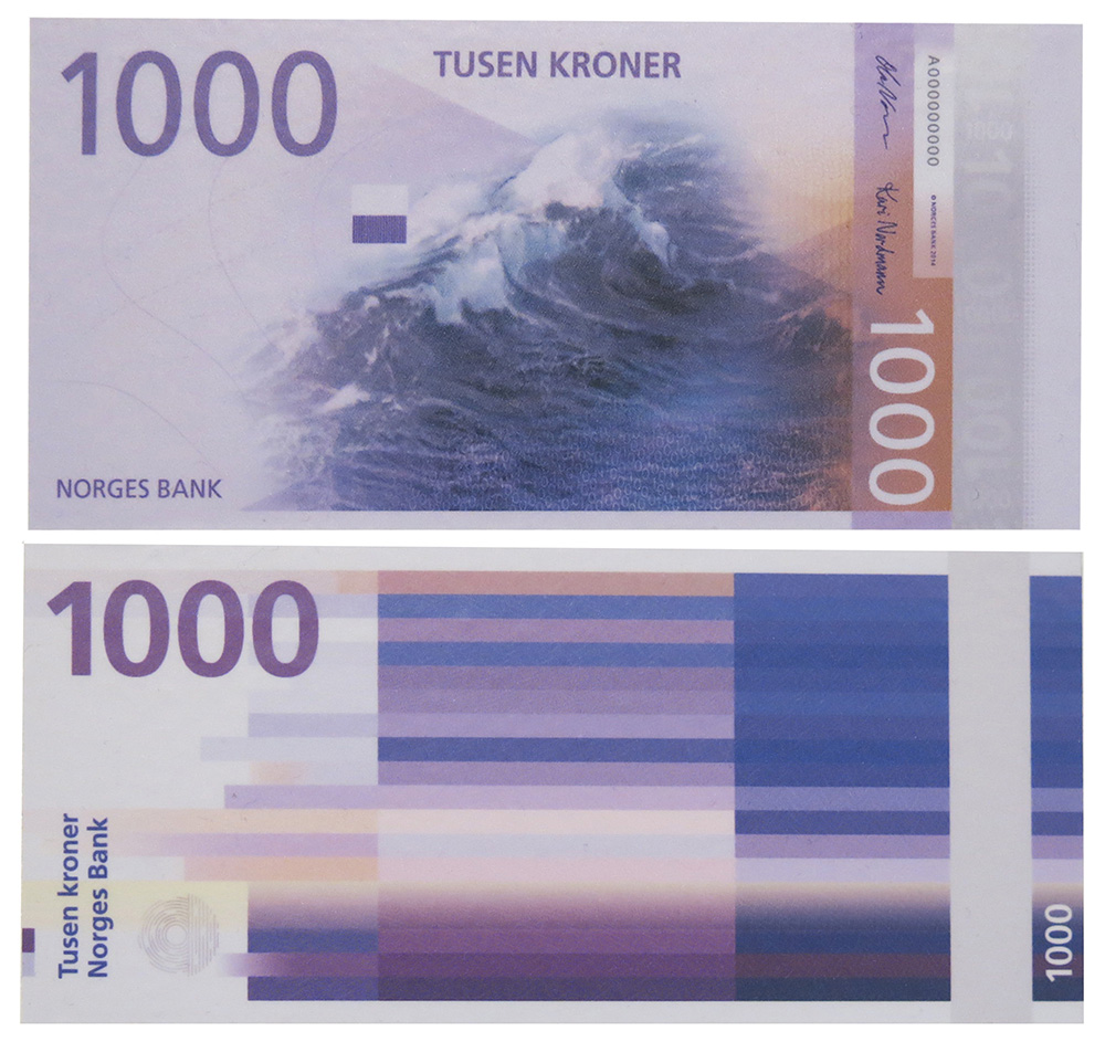 Pixellated design for Norwegian banknote