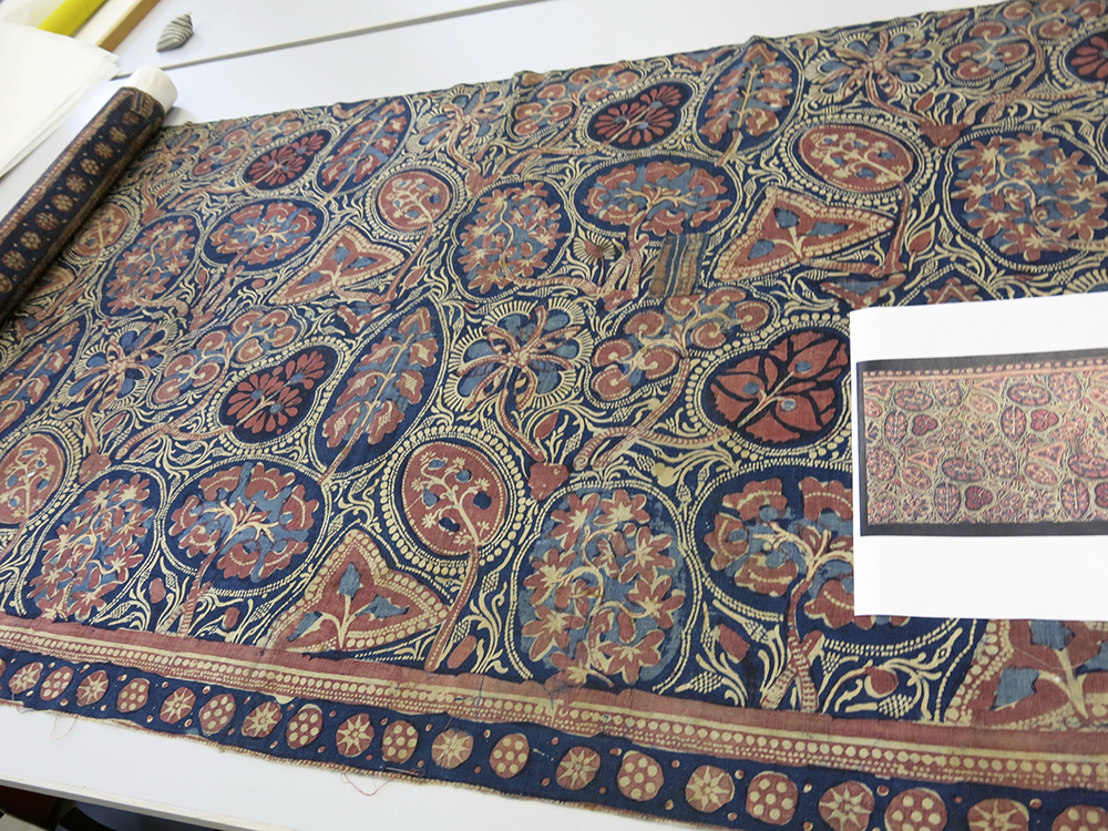 V and A repairs to Gujarati printed cotton