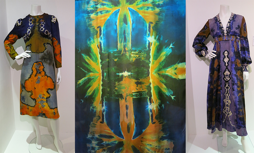 Marian Clayden peacock style - 70s dresses and wall hanging