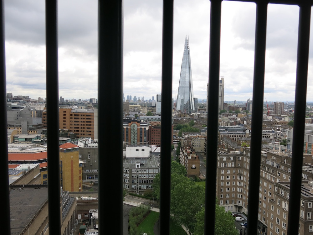 Shard through the railings